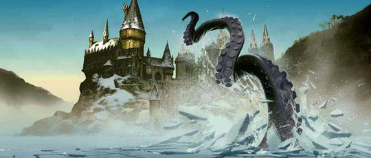 A tentacle of Hogwart's Giant Squid smashes through the icy Great Lake