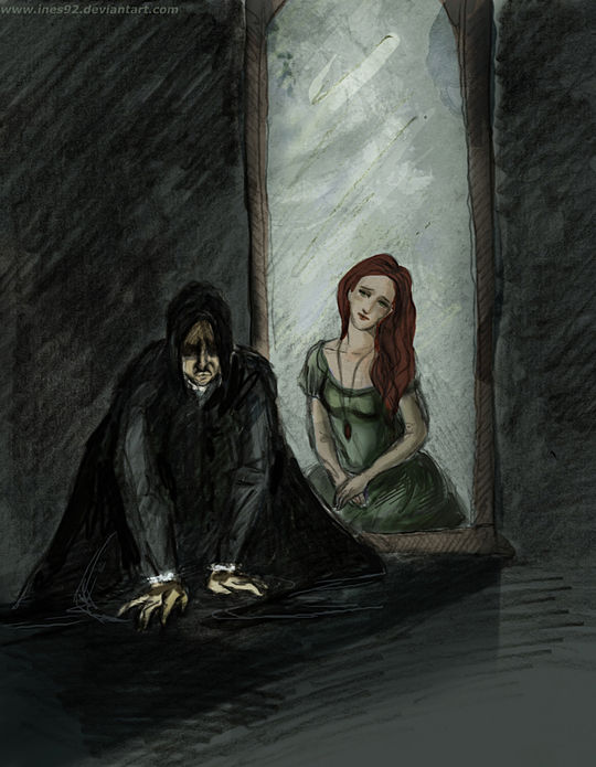Snape stares into the mirror of ERISED reflecting his love Lily Evans
