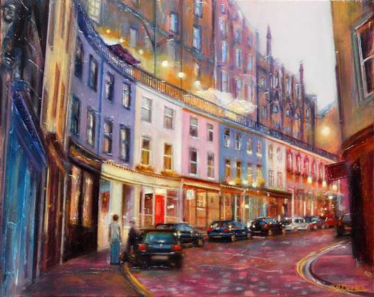 A painting of Victoria Street Edinburgh by Lesley Anne Derks
