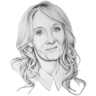Portrait of JK Rowling staring into the distance. Explore her secret Edinburgh on a Harry Potter bicycle tour